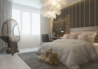 Girl's Bedroom In Soft Finishes & Feature Head Board Wall Finishing.