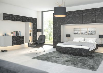 Marbled Black & Grey Bedroom Furniture & Finishing.