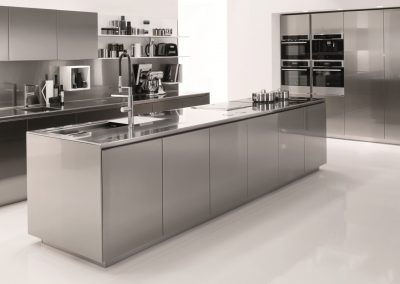 This Stainless Steel Kitchen project is decor finished with white to add colour balance to the kitchen.