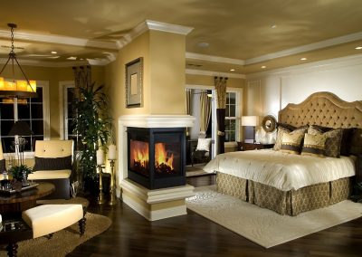 Dividing Column Patrition Log Burner In Double Living Space Design.