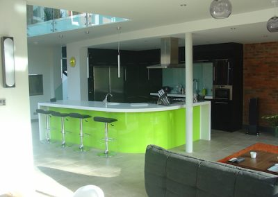 Lime Resin Kitchen Island.