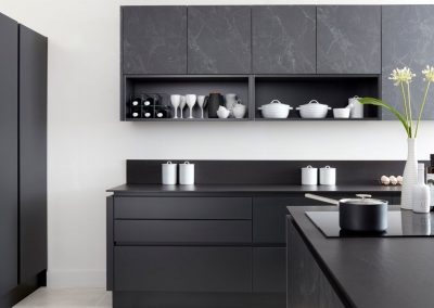 Matt Anthracite B And Marbled Black Kitchen.