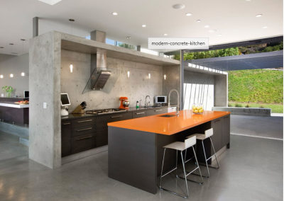 Modern Concrete Partition Kitchen in Wenge With Resin Worktops.