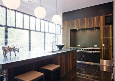 Lacanche Range In Black With Modern Ebony Macassor Kitchen Design.