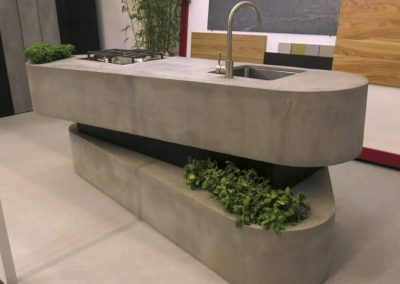 Sandwich Kitchen Island In Concrete.