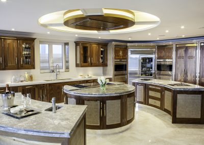 Walnut & Wheel Feature Island Fabric Panelled Finished Kitchen.