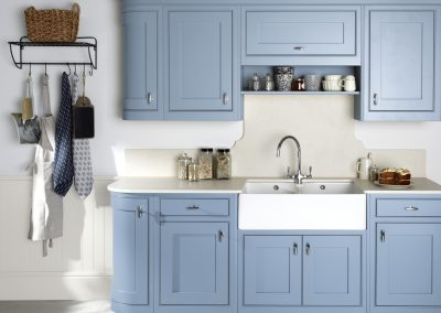 Painted Inframe Light Blue Kitchen.