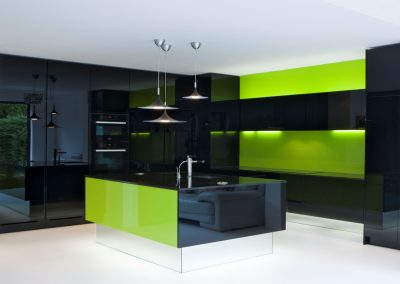 Black Resin Kitchen With Lime Finishing.