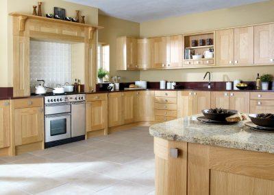 Natural Light Oak Shaker Kitchen.