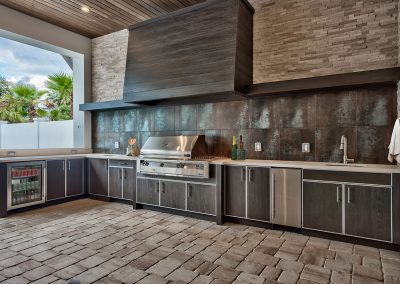 Patio Kitchen in Dark Slate Grey With Extraction, Rustic Wall Tiling & Interior Finishing.