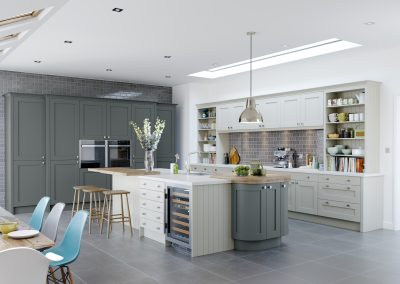 Painted Cream & Seal Grey Shaker Kitchen.