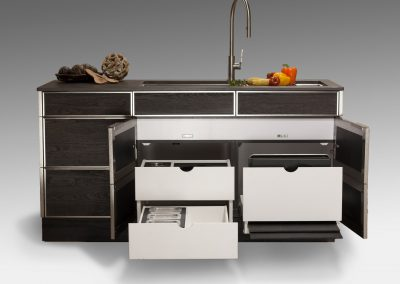 Mini Kitchen Ease Of Use Drawer Kitchen In Slate Grey Finish.