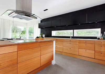 A;; Drawer Modern Swedish Lightwood & Matt Black kitchen.