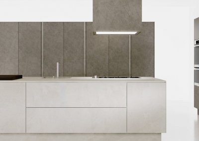 Light & Dark Concrete Kitchen Design with Appliance Integration.