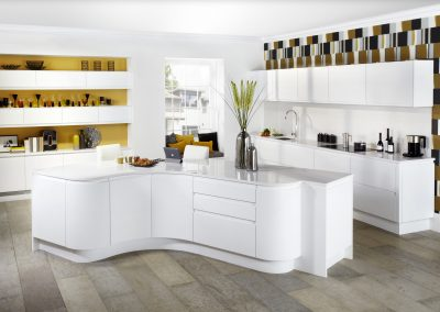Curved Matt White Kitchen With Multi Storage.