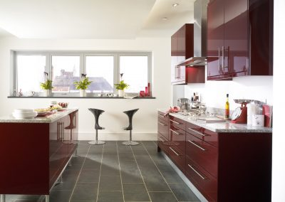Burgundy Kitchen With Slate Grey Flooring In Tile, Natural Stone, Amtico Or Laminate.
