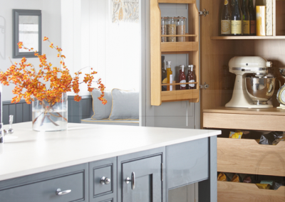 Inframed Kitchen In Choice Of Light Grey, Mineral, Luna, Grey, Steel or Slate Grey With Timber Larder & Secret Drawer Feature.