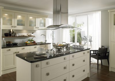Painted Ash Timber White Shaker Kitchen.