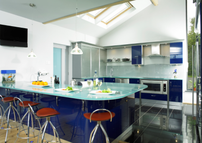 Resin Blue Kitchen & Smoked Glass Top Island.
