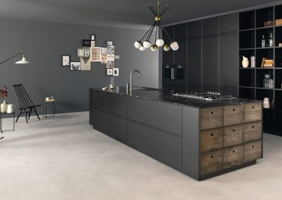 Italian Black Kitchen Island With Fired Industrial Pull Out Drawers And Feature Storage.
