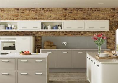 Laquered Kitchen In Demara Gloss On The left Midi Cabinets & Wall Units Run, With Matt Coffee Grain Finish On Base & Island Cabinets.