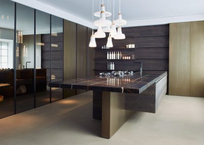 Modular Kitchen With Glass Cabinet & Wood Panel Storage , Nero Picasso Marble Liquid Metal Antique Worktop or with Steel Finish.