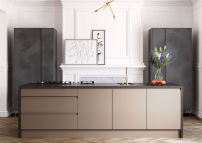 Inverted Handle Painted & Lacquered Kitchen In Metallic Pink Champage & Tall Grey Accent Cabinetry.
