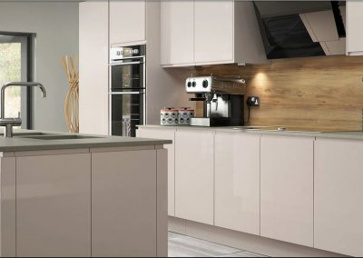 Musk Gloss Kitchen With Inverted Handle.