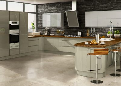 Inverted Handle Gloss Willow Kitchen.