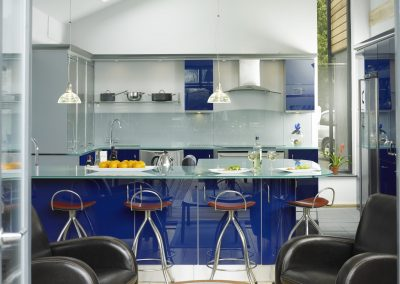 Resin Blue Kitchen and Smoked Glass Island Central View.