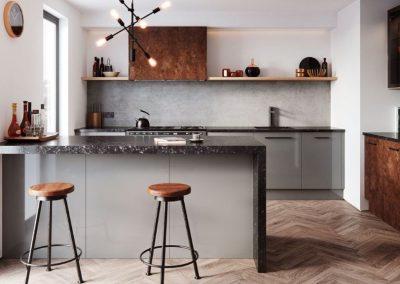 Oxy Matt And Gloss Grey Kitchen.