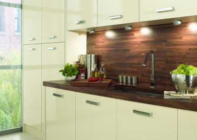 Ice Gloss Cream Kitchen With Walnut Finish & Worktop.