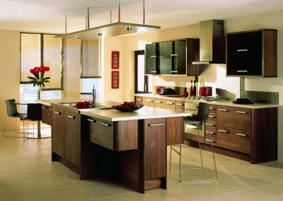 Two Grained Walnut Kitchen With Island Floating Storage.