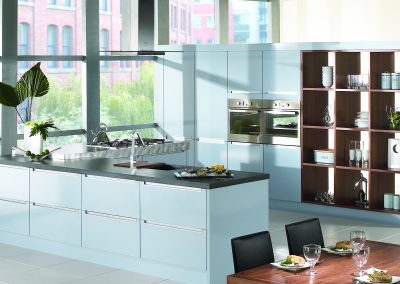 Ice Blue Gloss Kitchen With Optional Bespoke Carpentry.