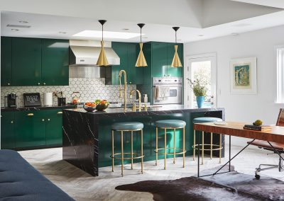 Painted Emerald Mint Island Bar With Brass Finishes Stools.