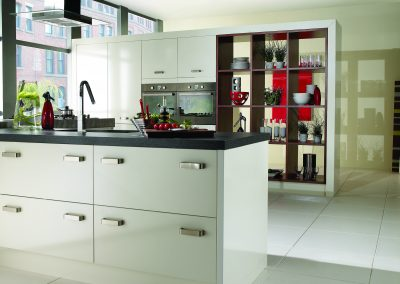 Ice White Gloss Kitchen With Optional Bespoke Storage.