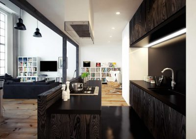 Open Living Space with Sugi Ban Kitchen Design & Corian Black Worktop.