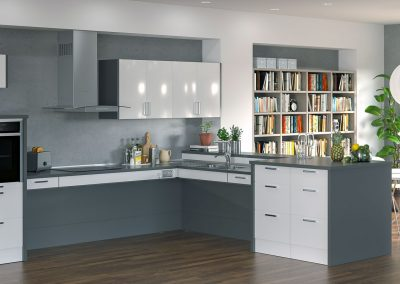 Height Adjustable Corner Kitchen Solution.