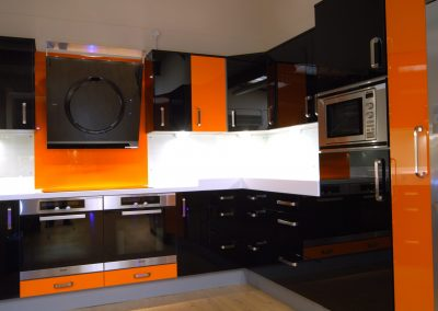 Resin kitchen In Two Tone Tangerine & Black.