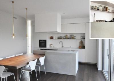 Simple Concrete Island With Off White Kitchen & Timber Dining