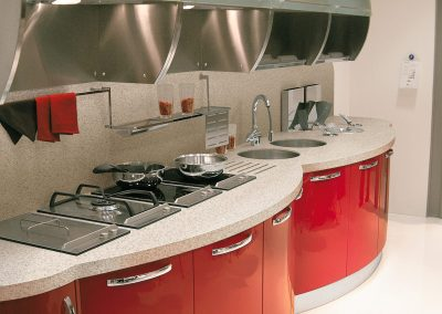 Resin Triple Curved Kitchen In Red.