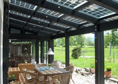 Carbon Black Steel Solar Patio Canopy.