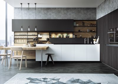 GKD Kitchen In White, Matt Grey With Veneer Grey Storage & Completed With A Beech Butchers Block Table Design.