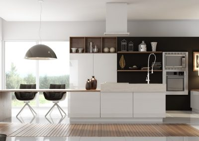 GKD Open White Kitchen & Feature Walnut Storage.