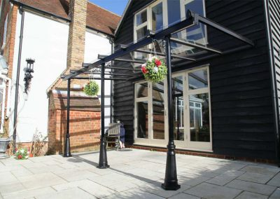 Home Glass Canopy In Black.