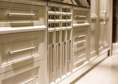 The Kitchen Included A Central Multi Storage System Including Quad Pull Out, Drawers  And Six Cutlery Drawers With Bespoke Handles and Knobs.