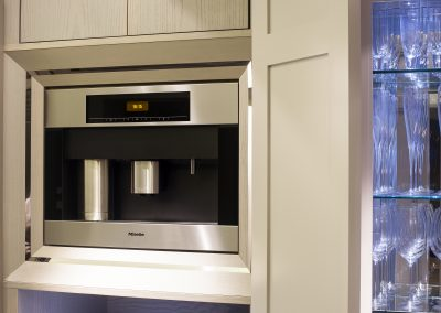 The Kitchen Design included a Bean To Cup Miele Coffee Machine In one of the Tall Panelled Cabinets.