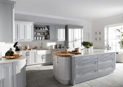 Painted Soft B Grey Timber Kitchen.