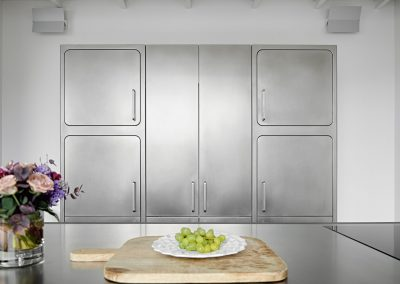 Nu curve steel storage and design demonstrates the compactibility of the kitchens.