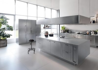 Our Nu Curve Credenza Steel Kitchen designs are made from the very best grades of steel and quality timeless material.